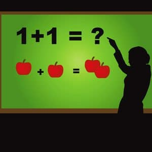Board with maths problem